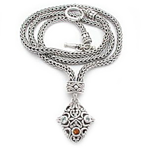 Bali silver with gemstones necklaces