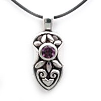 Heart motif silver with gemstone pendant
